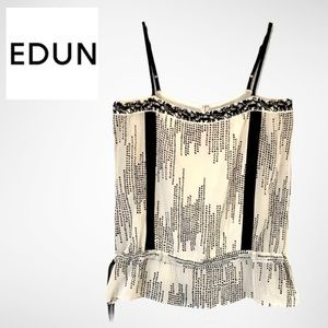 Edun Silk Jungle Embroidered Peplum